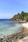 .island in the wonderful sky. very nice sunny day. andaman sea in thailand. l Stock Photos