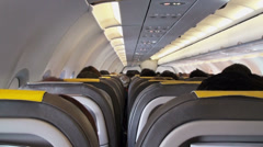 Airplane interior, back view - stock footage