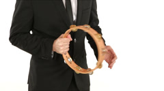 Playing tambourine in tuxedo Stock Footage