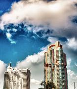 Skyline of miami. beautiful buildings near the ocean Stock Photos