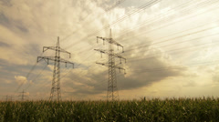 Timelapse of a power supply line Stock Footage