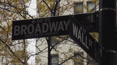 Stock Video Footage of Street Sign Wall Street Broadway