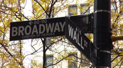 Street Sign Wall Street Broadway - stock footage