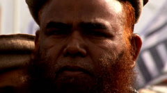 Bearded Islamist at an Extremist Rally in Pakistan Stock Footage