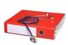 Blue stethoscope and red binder isolated on white Stock Photos