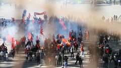 Protest at Eiffel Tower in Paris France Stock Footage