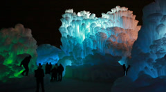 Frozen ice castle and crowd Stock Footage