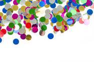 Stock Photo of small color confetti background on white