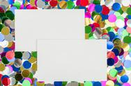 Stock Photo of small color confetti and empty card