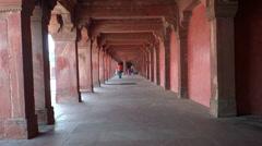 Long corridor at Fatehpur Sikri Stock Footage