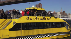 New York Water Taxi on Hudson River - stock footage