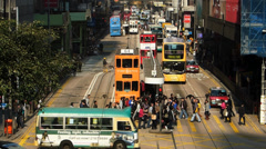 Hong Kong bustle rush hour traffic financial Central district Asia China Stock Footage