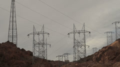 Power Lines at Hoover Dam Lake Mead Reservoir Nevada Arizona Stock Footage