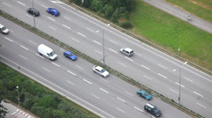 Urban traffic in Munich, Germany - view from telecom tower Stock Footage
