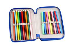 Pencil case full of felt-tip pens and crayons Stock Photos
