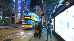 Stock Video Footage of Hong Kong rushhour traffic financial Central district at dusk Asia China