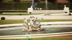 Fountain in park - Schonbrunn palace - Vienna, austria Stock Footage