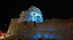 People at an ice castle Stock Footage