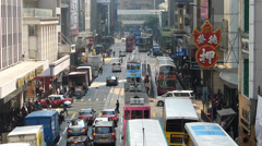 Hong Kong bustle rush hour traffic financial Central district Asia China - stock footage