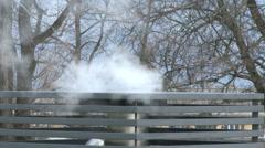 4K Winter Chimney and Smoke Stock Footage