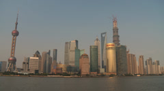 Shanghai Pudong Skyline in the afternoon sun (41 degree celsius) Stock Footage