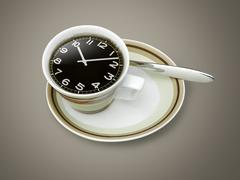 coffee time , watch drawing on coffee cup - stock illustration