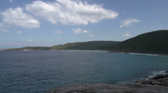 Pan from the coast and blowholes in Albany, Western Australia Stock Footage