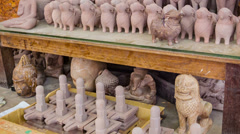 Stone souvenirs in the workshop in cambodia, siem reap Stock Footage