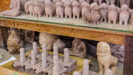 Stock Video Footage of stone souvenirs in the workshop in cambodia, siem reap
