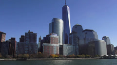 Manhattan Financial district with new World Trade Center - stock footage