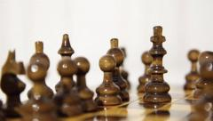 Wooden Chessboard With Pieces, Chess. Stock Footage