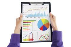 businessman analyzes business chart - stock illustration