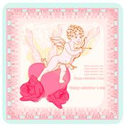 Happy valentines day card with cupid Stock Illustration