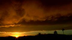 Smoky Clouds Sunset Landscape Time Lapse Stock Footage