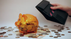 Hands removing money from wallet, piggy bank, withdrawal, savings Stock Footage