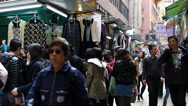 Stock Video Footage of Hong Kong Central district busy bustle narraw shopping street Asia China