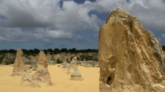 Close up Pan of The Pinnacles in Western Australia Stock Footage