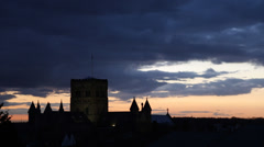 Silhouette of St. Albans Abbey, Hertfordshire, England Stock Footage