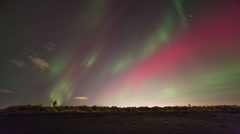 Photographer photographing the aurora (northern lights) in Iceland - stock footage