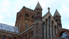 St. Albans Abbey, Hertfordshire, England Stock Footage