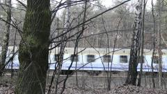 Intercity train in Poland. View from the forest. Stock Footage