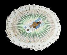 Wide fan of one hundred polish zloty banknotes Stock Photos
