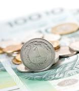one polish zloty coin standing on the edge - stock photo