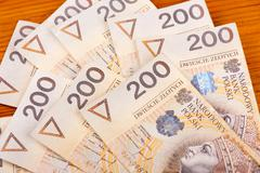 Many two hundred polish zloty banknotes Stock Photos