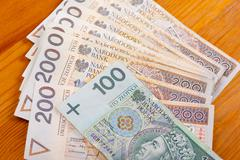 Two and one hundred polish zloty banknotes Stock Photos