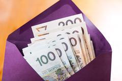 many hundred polish zloty banknotes in envelope - stock photo