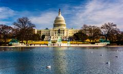 The united states capitol and reflecting pool in washington, dc. Stock Photos