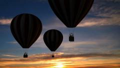 Hot Air Balloons Beautiful Silhouette in the sunset - stock footage
