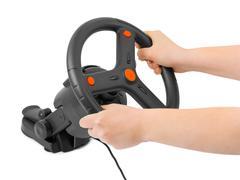 Tietokone ohjauspyörä ja kädet - stock photo