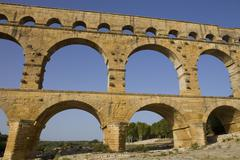 Pont du gard, roman aqueduct in southern france near nimes Stock Photos